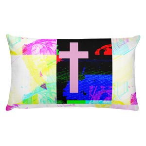 Contemporary halftone graphic cross pillow