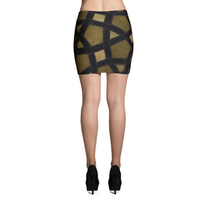 Mini Skirt with our signiture gold and black geometric design