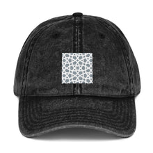 Load image into Gallery viewer, Vintage Cotton Twill Cap with grey and white geometric design