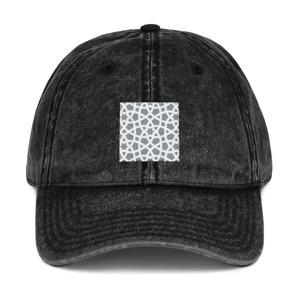 Vintage Cotton Twill Cap with grey and white geometric design