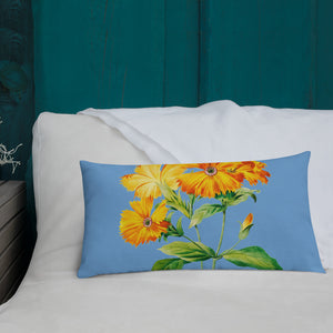 Premium Pillow with beautiful yellow botanical print