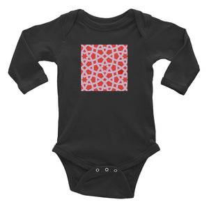 Infant Long Sleeve Bodysuit with pink and red geometric design