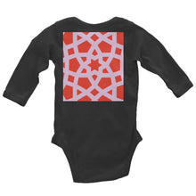 Load image into Gallery viewer, Infant Long Sleeve Bodysuit with pink and red geometric design