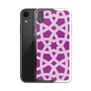 iPhone Case with purple and pink geometric design