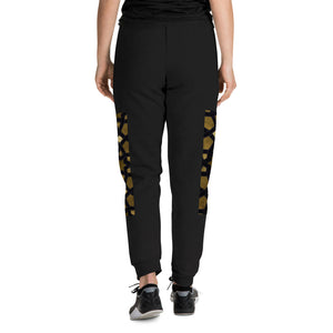 Unisex Joggers with side geometric black and gold design