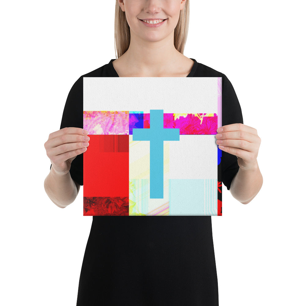Canvas print of contemporary cross painting.