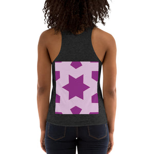 Women's Tri-Blend Racerback Tank with pink and purple geometric design