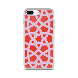 iPhone Case with pink and red geo design