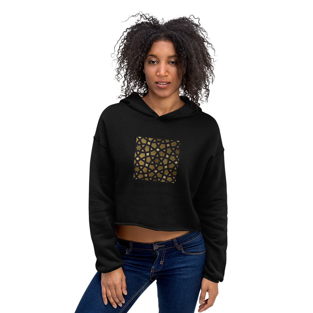 Crop Hoodie with our black and gold geometric design