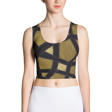 Crop Top with black and gold geometric design