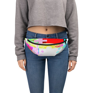 Multi colored fanny pack with halftone print
