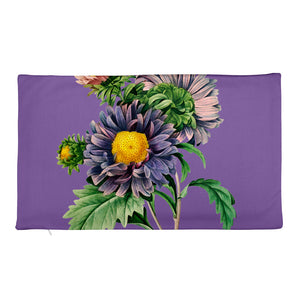Premium Pillow Case with Purple and pink flowers with purple background