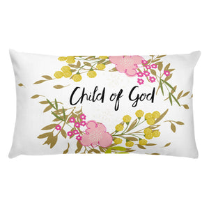 Basic Pillow with beautiful flower and Child of God saying