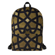Load image into Gallery viewer, Backpack with gold and black geometric design