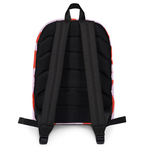 Backpack with red and pink geometric design