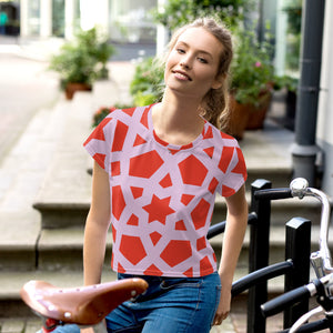 Pink and red geometric Print Crop Tee