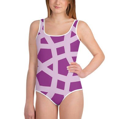 Pink Geometric Youth Swimsuit