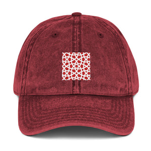 Vintage Cotton Twill Cap with red geometric design