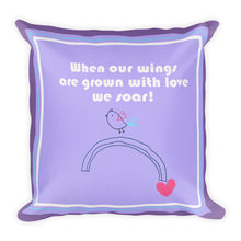 Load image into Gallery viewer, Premium Pillow when we grow our wings with love in purple