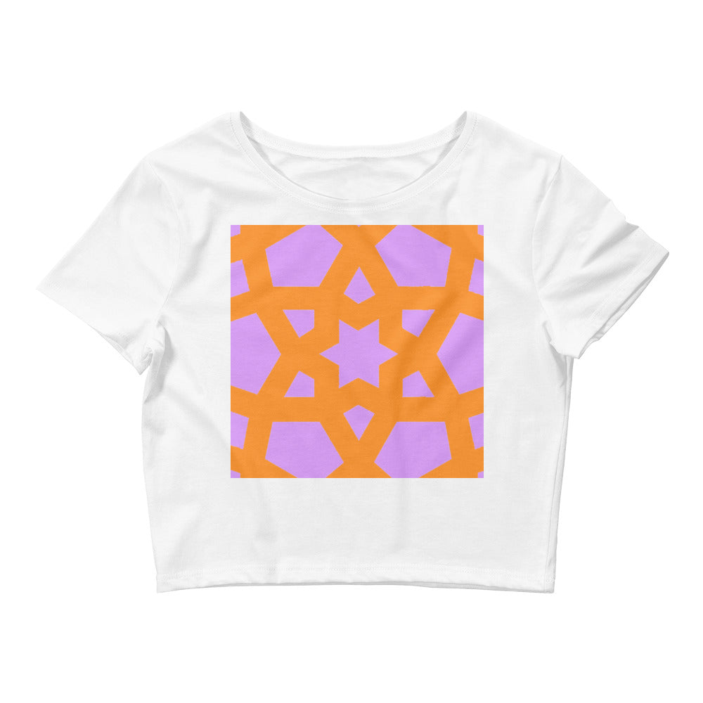 Women's Crop Tee with pink and orange geometric pattern