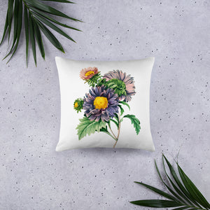 Large purple flower decorative pillow