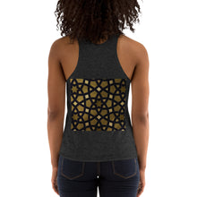 Load image into Gallery viewer, Women's Tri-Blend Racerback Tank with black and gold geometric design