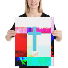 Load image into Gallery viewer, Canvas print of contemporary cross painting.