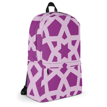 Load image into Gallery viewer, Backpack with pink and purple geometric pattern