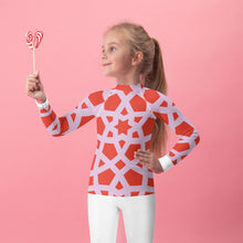 Load image into Gallery viewer, Kids Rash Guard with red and pink geometric design