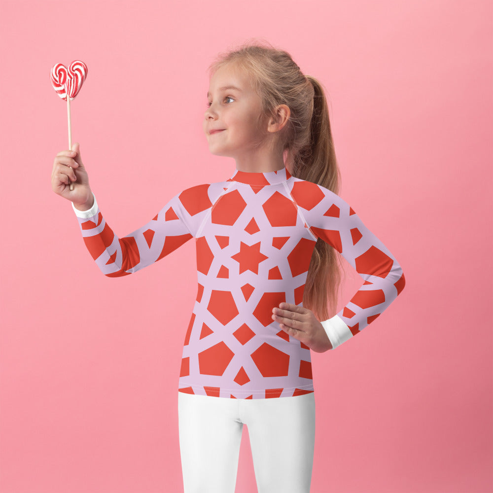 Kids Rash Guard with red and pink geometric design