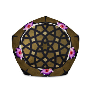 Bean Bag Chair w/ filling with bold lotus and gold geometric pattern