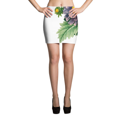 Mini Skirt with large purple flower. Leaf back.