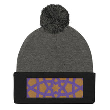 Load image into Gallery viewer, Pom Pom Knit Cap with purple and gold embroidered pattern