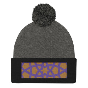 Pom Pom Knit Cap with purple and gold embroidered pattern