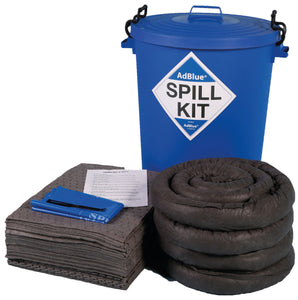 100 litre AdBlue spill kit in blue round bin