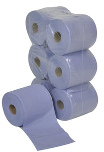 Centre-feed roll, 2 ply, blue (20cm x 150m) Pack Of 6