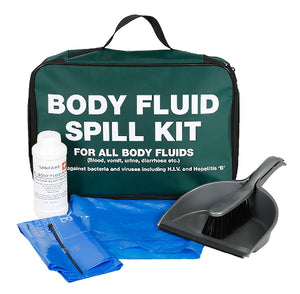 Body Fluid Spill Kit with Disinfectant Powder, In Green Zip Bag with print