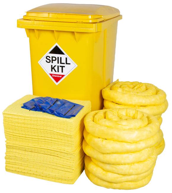 Chemical Kit  Yellow Wheelie Bin 360 litre Spill Kit