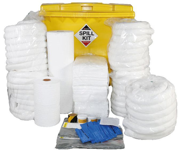 Oil & Fuel Spill Kit in Wheeled Bin