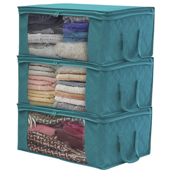 Sorbus Foldable Storage Bag Organizers, Large Clear Window & Carry Handles, Great for Clothes, Blankets, Closets, Bedrooms, and More (3-Pack, Aqua) $18.99