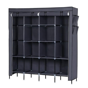 "67"" Clothes Closet Portable Wardrobe Clothes Storage Rack 12 Shelves 4 Side Pockets Gray"
