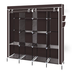 "67"" Clothes Closet Portable Wardrobe Clothes Storage Rack 12 Shelves 4 Side Pockets Dark Brown"