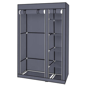 "67"" Portable Clothes Closet Wardrobe with Non-woven Fabric and Hanging Rod Quick and Easy to Assemble Gray"
