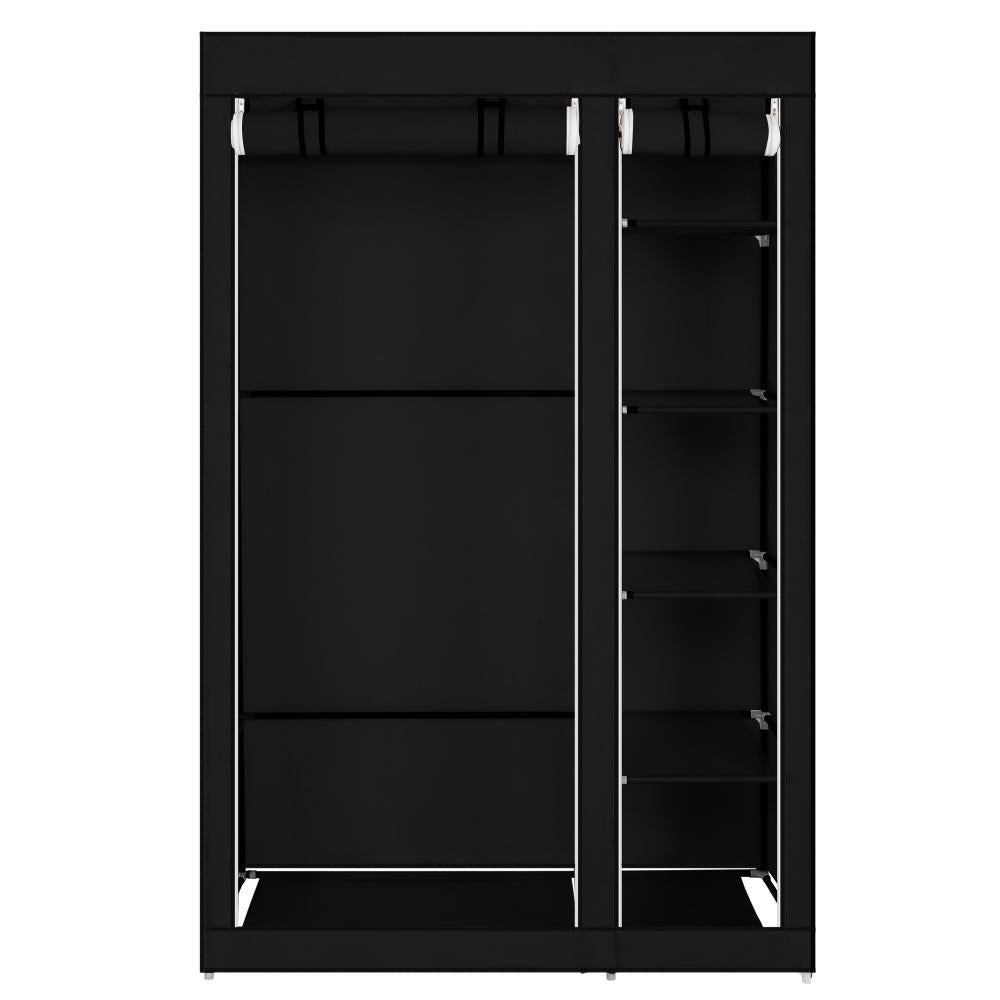 "67"" Portable Clothes Closet Wardrobe with Non-woven Fabric and Hanging Rod Quick and Easy to Assemble Black"