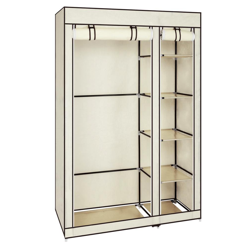 "67"" Portable Clothes Closet Wardrobe with Non-woven Fabric and Hanging Rod Quick and Easy to Assemble Beige"