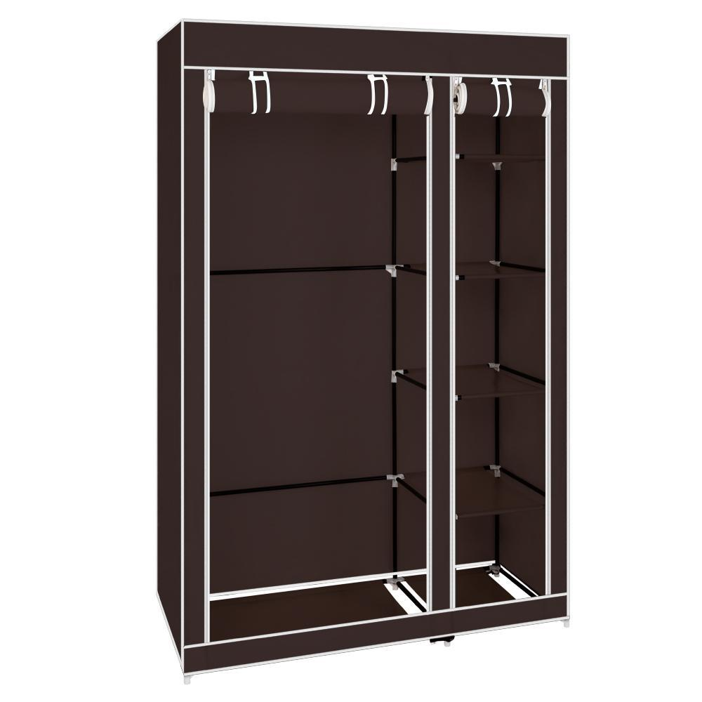 "67"" Portable Clothes Closet Wardrobe with Non-woven Fabric and Hanging Rod Quick and Easy to Assemble Dark Brown"