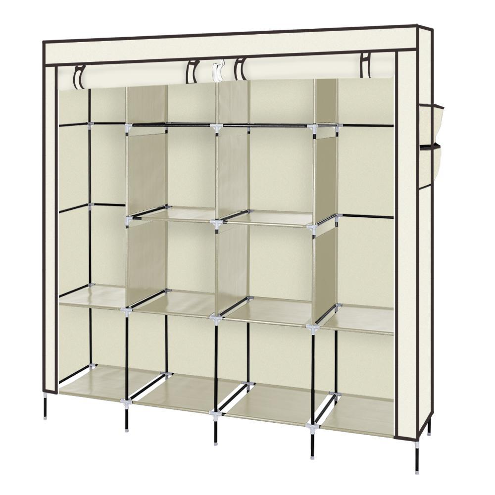 "67"" Clothes Closet Portable Wardrobe Clothes Storage Rack 12 Shelves 4 Side Pockets Beige"