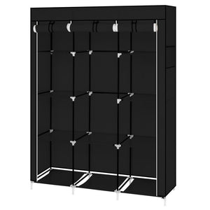 "67"" Portable Closet Organizer Wardrobe Storage Organizer with 10 Shelves Quick and Easy to Assemble Extra Space Black"