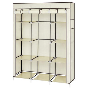 "67"" Portable Closet Organizer Wardrobe Storage Organizer with 10 Shelves Quick and Easy to Assemble Extra Space Beige"