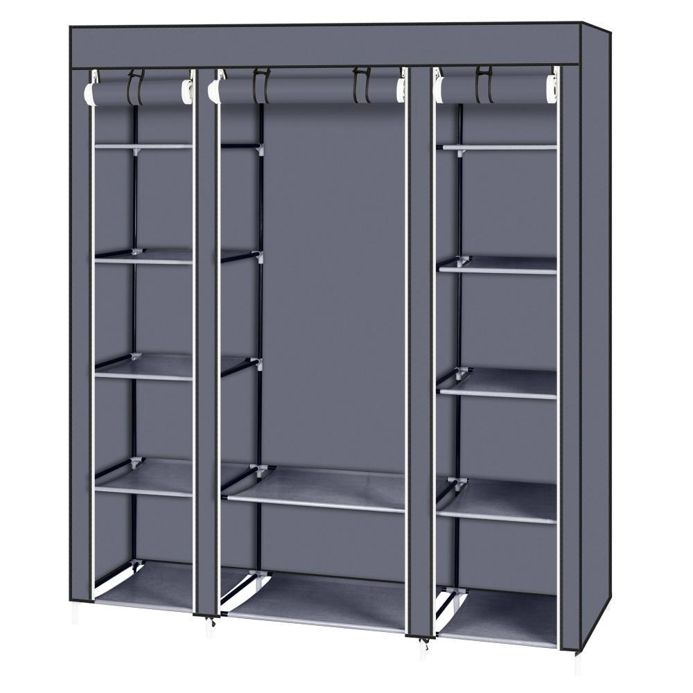 "69"" Portable Clothes Closet Wardrobe Storage Organizer with Non-Woven Fabric Quick and Easy to Assemble Extra Strong and Durable Gray"